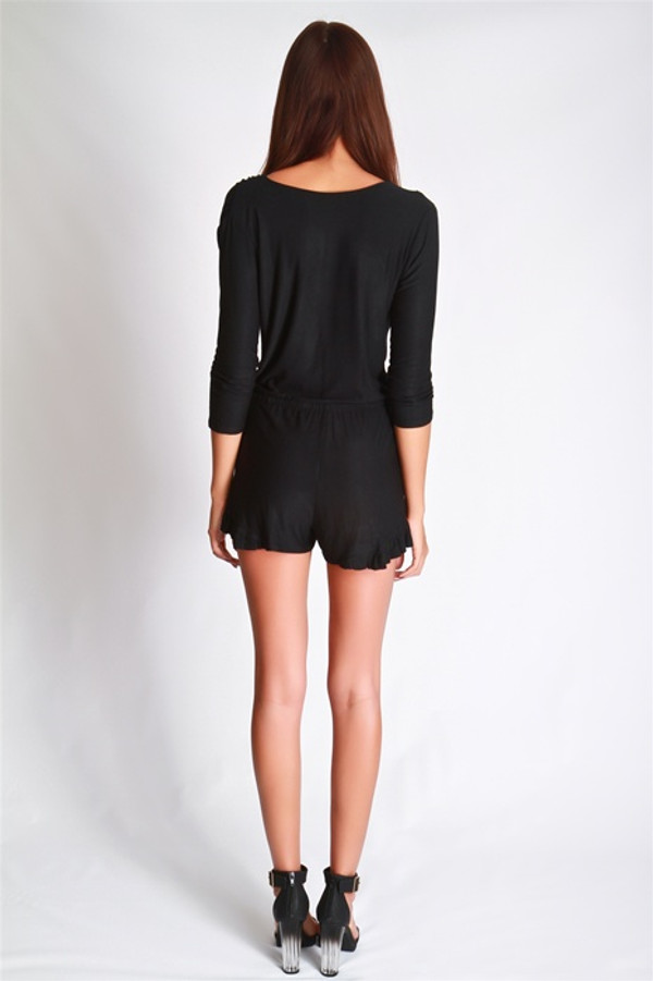 Little Black Ruffled Romper