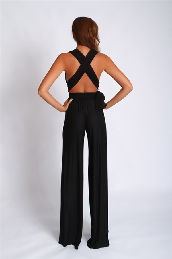 Deep V Jumpsuit-Black