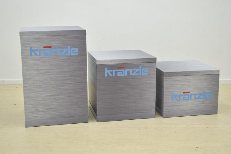 Set of 3 Plinths Large - 420mm W x 420mm D x 632mm H  Medium - 420mm W x 420mm D x 432mm H  Small - 420mm W x 420mm D x 332mm H