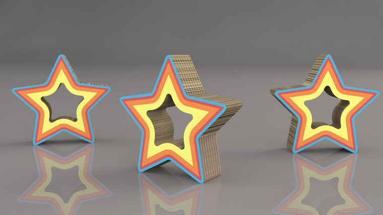 Simple multilayered Star displays 495mm (w) x 128mm (d) x 470mm (h)