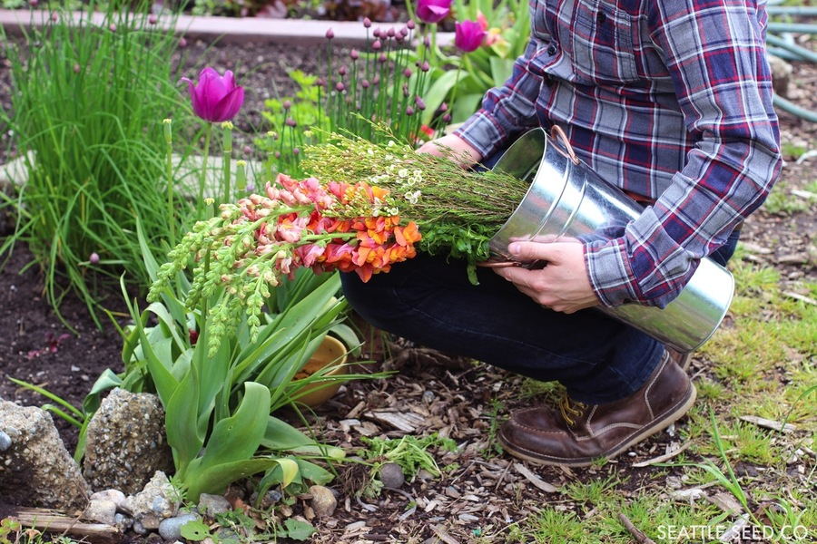 Floral Bucket - Galvanized - 13 inch