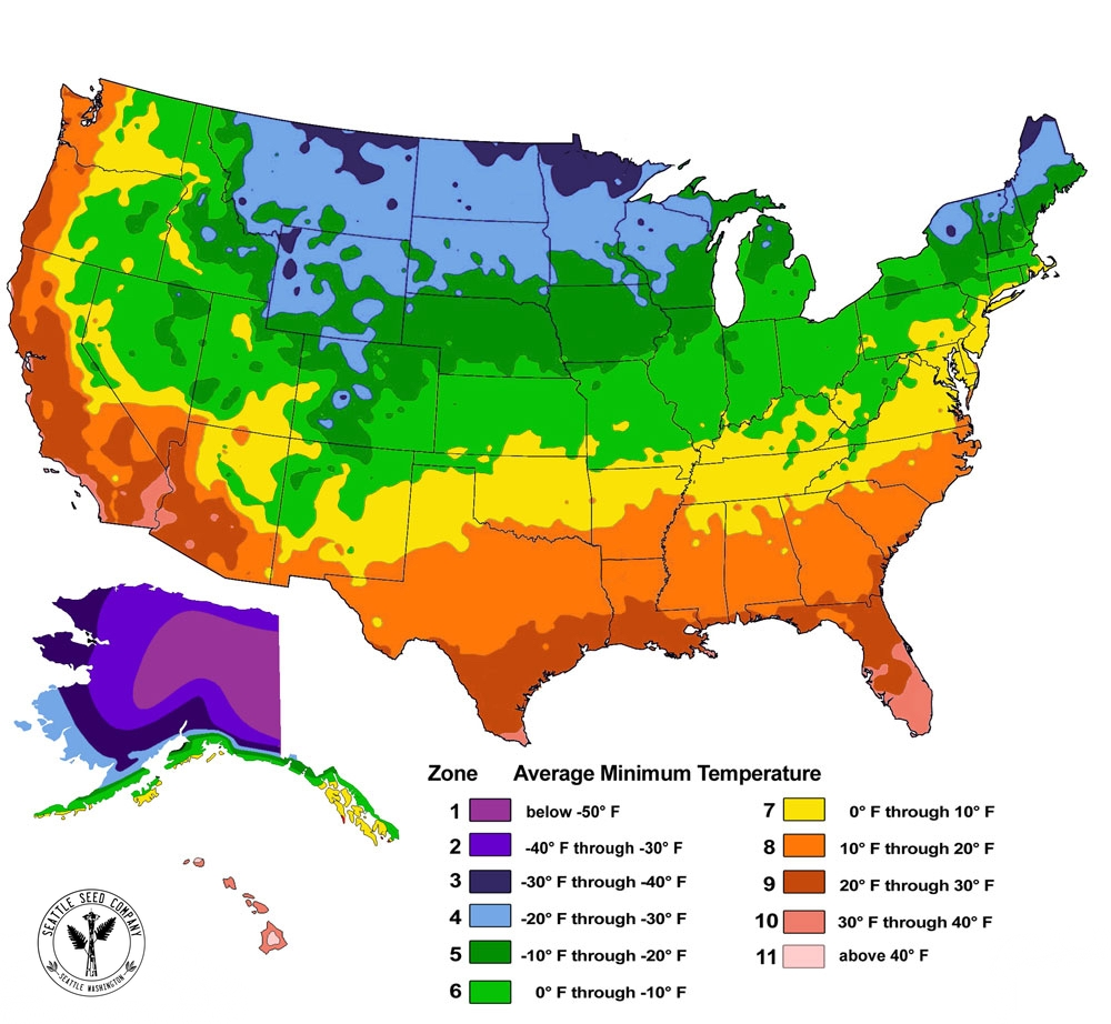 Growing Zones Map USDA Hardiness Zone Map