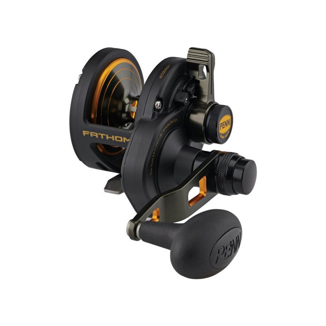 The PENN Fathom lever drag 2-speed series of reels are compact, ultra narrow - finally!!!  but loaded with big features. Featuring a Full Metal Body, stainless steel main and pinion gear, Dura-Drag washers, and a double dog ratchet anti- reverse you will find there is no stopping these reels.