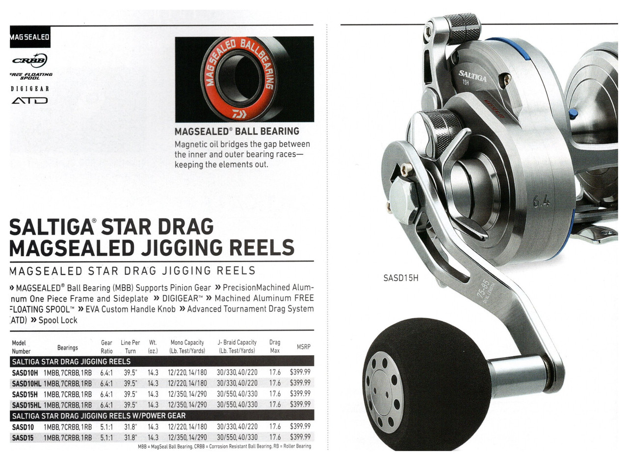 PERFECT FOR SLOW PITCH JIGGING MAGSEALED Ball Bearing MBB supports the pinion gear Precision machined aluminum one piece frame and sideplate DIGIGEAR Machined aluminum Free Floating Spool EVA Custom Handle Knob Advanced Tournament Drag (ATD) Spool Lock!