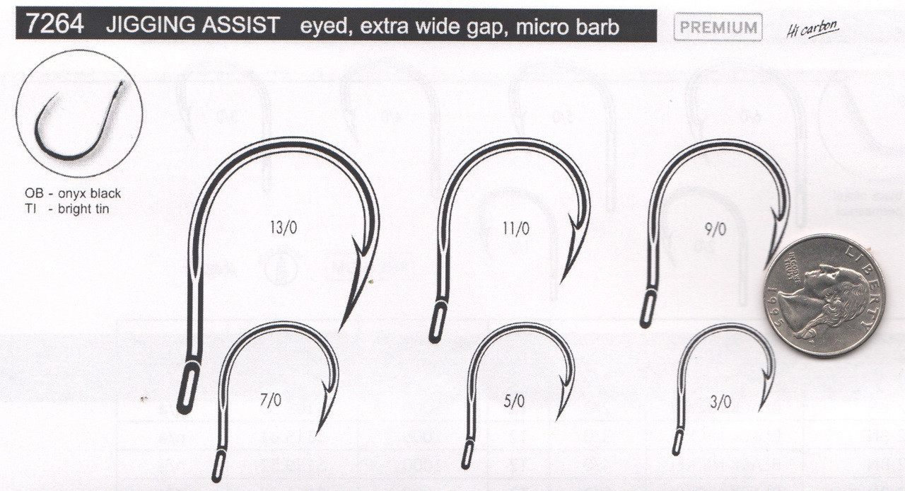 VMC Tuna Tuned Assist Jig Hook 7264-BN11/0T2  A new super strong, super sharp jigging hook made in France by VMC experts in hooks for more than 100 years.  25 per package BULK not tied you have to add the kevlar cord