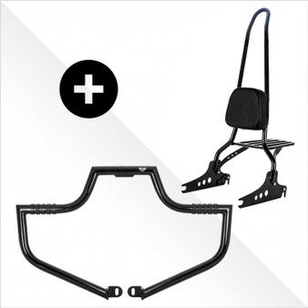 """Ride Safe Kit Sissy Bar + Engine Guard - 30"""" Black  Harley Softail, Dyna and Sportsters"""