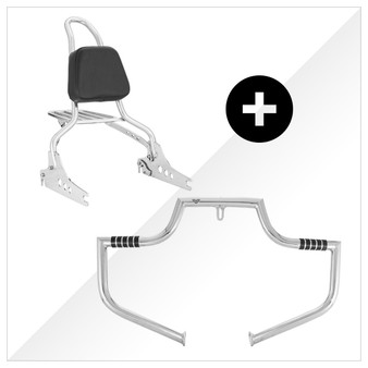 """Ride Safe Kit Sissy Bar + Engine Guard - 20"""" Steel for Harley Softail, Dyna and Sportster models - Polished Stainless"""