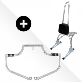 """Ride Safe Kit Sissy Bar + Engine Guard - 30"""" Polished Stainless Steel for Harley Softail, Dyna and Sportster"""