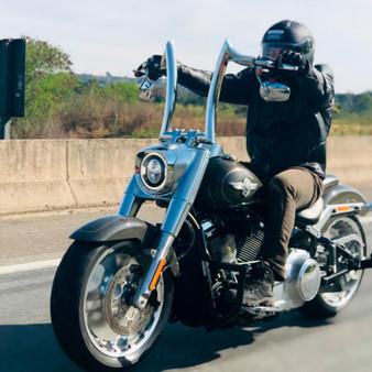 "Diablo Rhino 2"" Handlebars for Harley-Davidson Fat Boy - Stainless Steel Polish"
