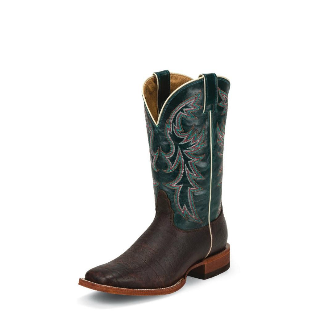 Men's Nocona Boot, Dark Brown Bullhide, Teal Shaft, Square Toe