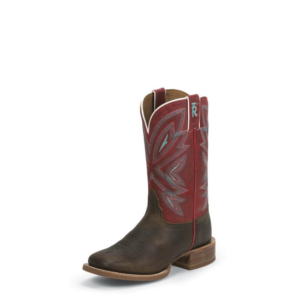 Women's Tony Lama Boot, Chocolate Vamp, Red Shaft, Square Toe
