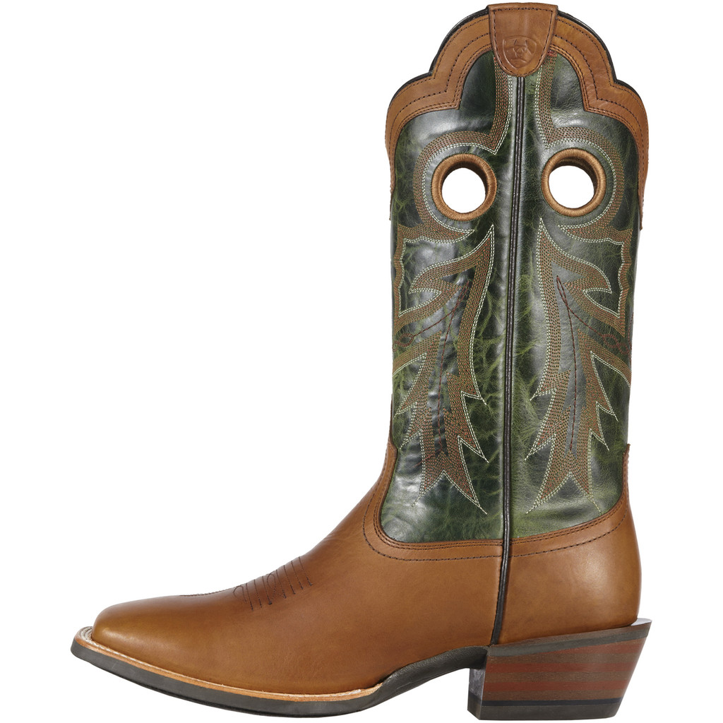 Men's Ariat Boot, Green/ Tan w/ Tan Stitch