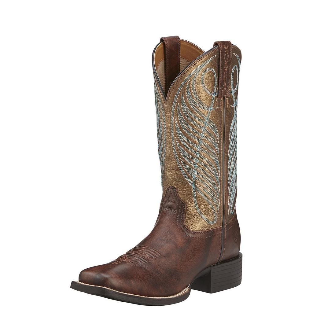 Women's Ariat Boot, Brown with Metallic Gold Top