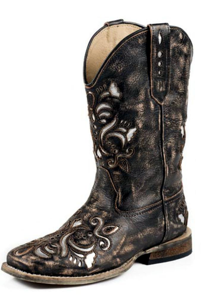 Kids Roper Boots, Distressed Brown, Floral Scrolling, Metallic Underlay