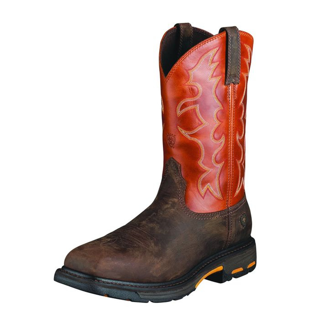 Men's Ariat Work Boot, Distressed Brown with Orange Top, Workhog Steel Square Toe
