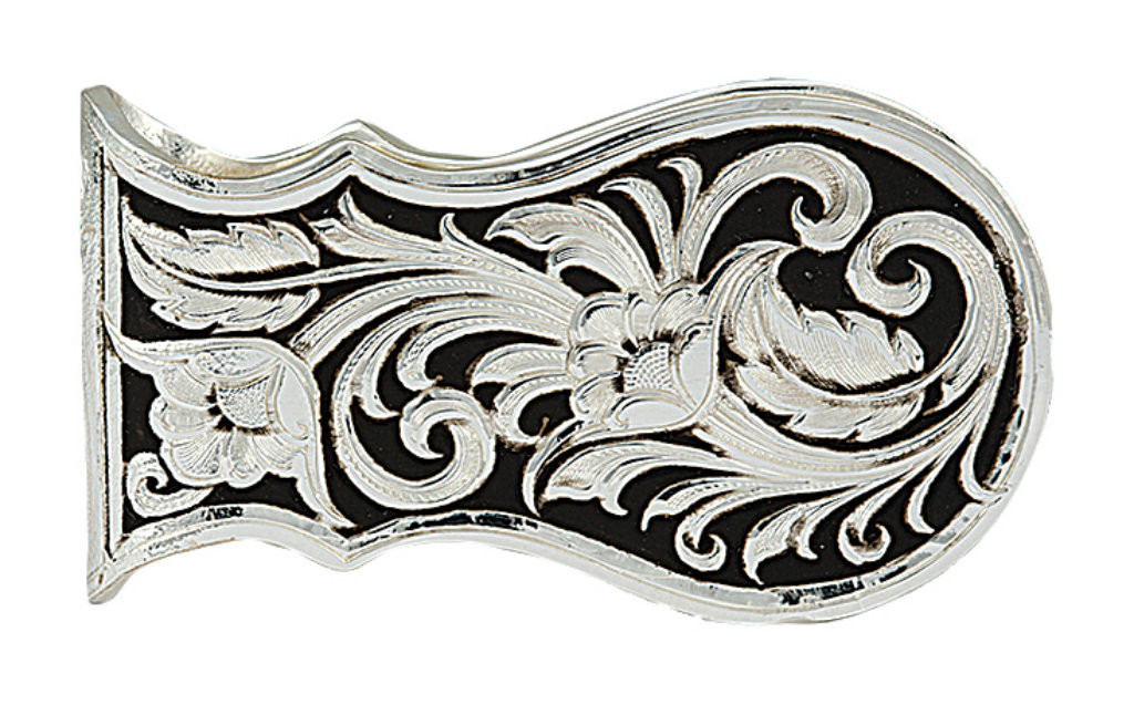 Montana Money Clip, Scalloped Silver and Black Floral Scroll Pattern