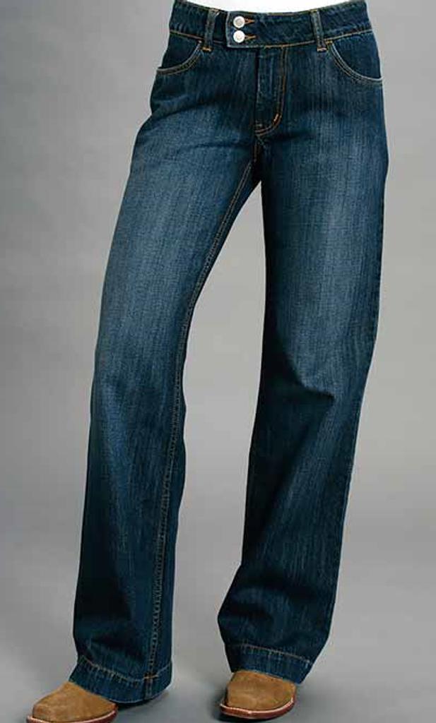 Women's Stetson Jean, Trouser Fit, Dark Wash, Long