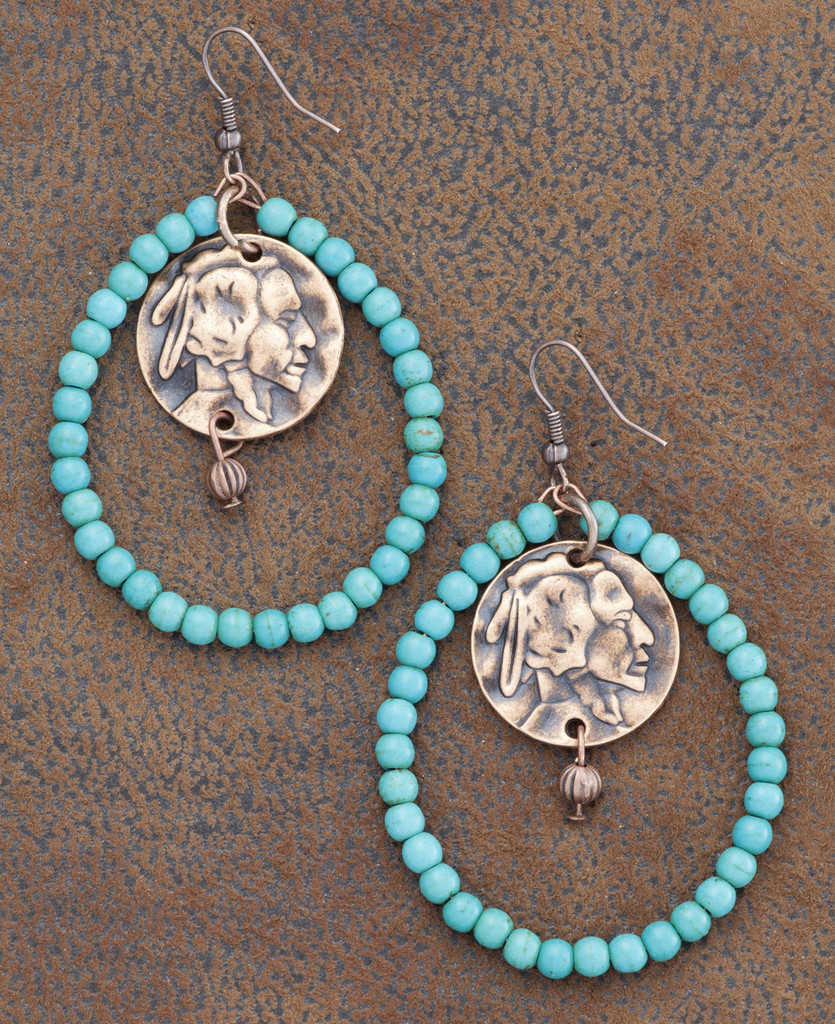 West & Co. Earrings, Turquoise Hoops with Indian Head