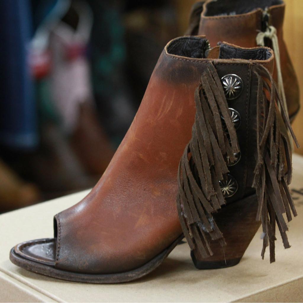 Women's Liberty Black Boots, Open Toe, Fringe, Conchos, Brown