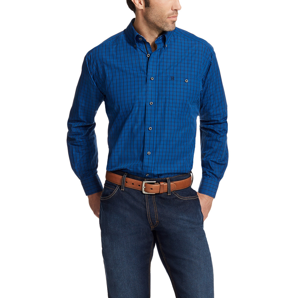 Men's Relentless L/S, Blue and Black Plaid