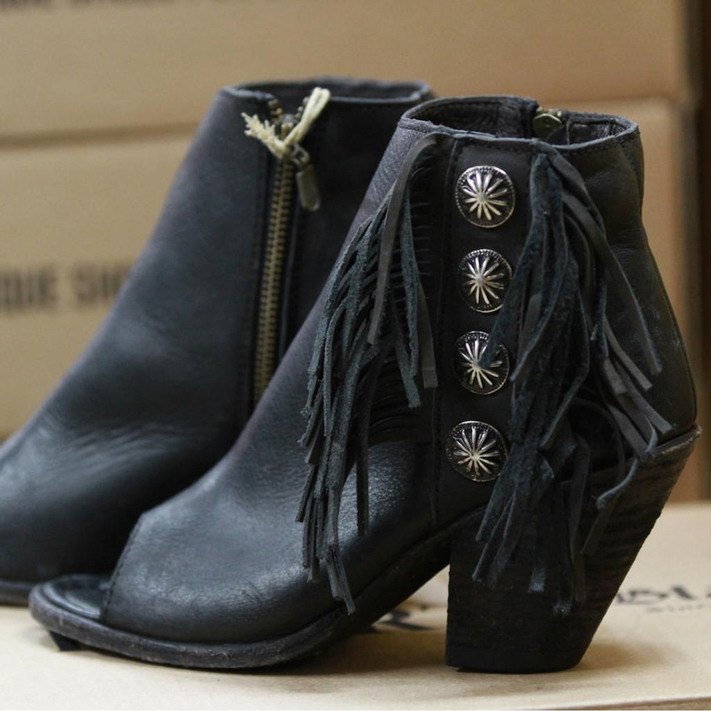 Women's Liberty Black Boots, Open Toe, Fringe, Conchos, Black