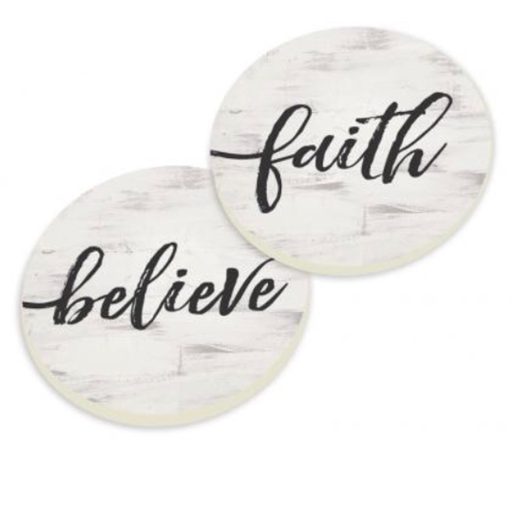 PGD Car Coaster Set, Faith, Believe