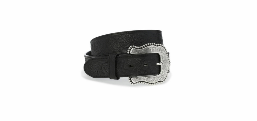 Women's Tony Lama Belt, Black Floral Tooled