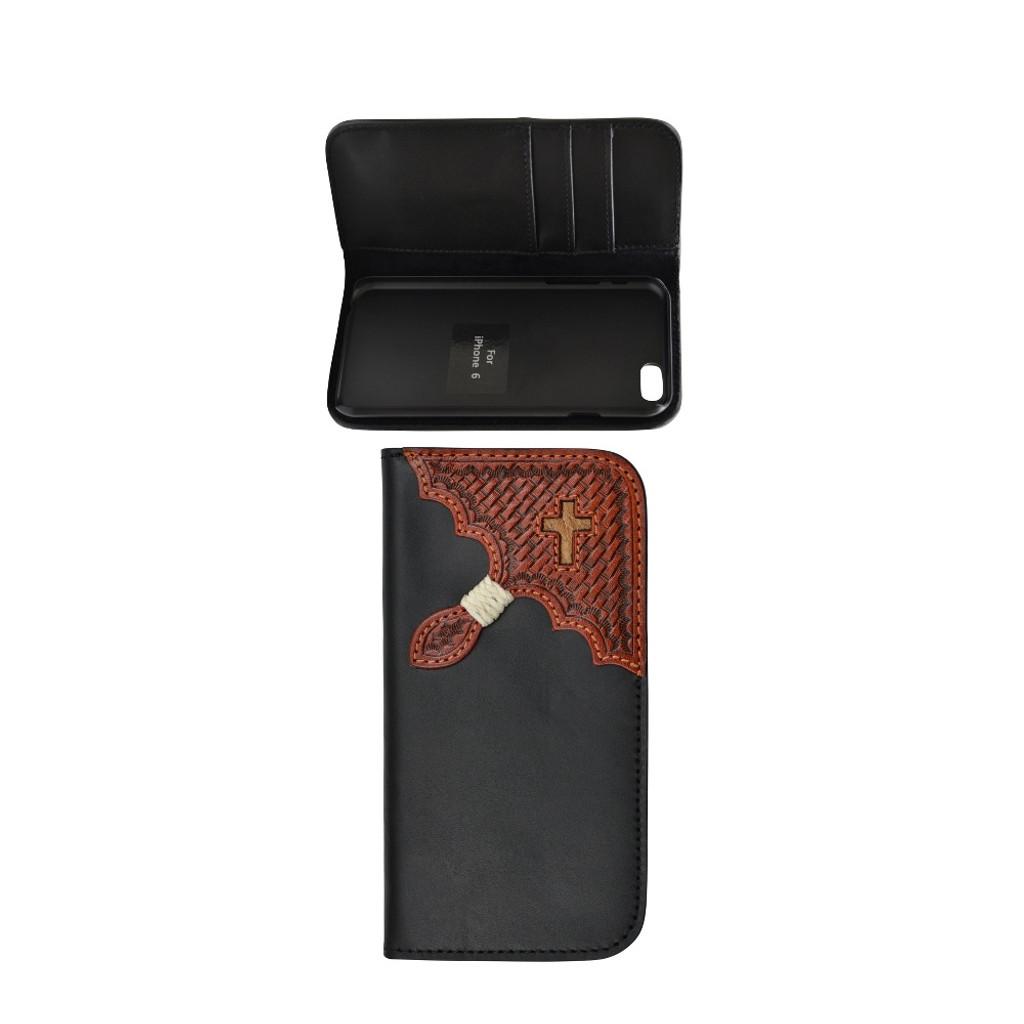 Men's Tony Lama iPhone 6 Case, Black w/ Tooled Corner & Cross