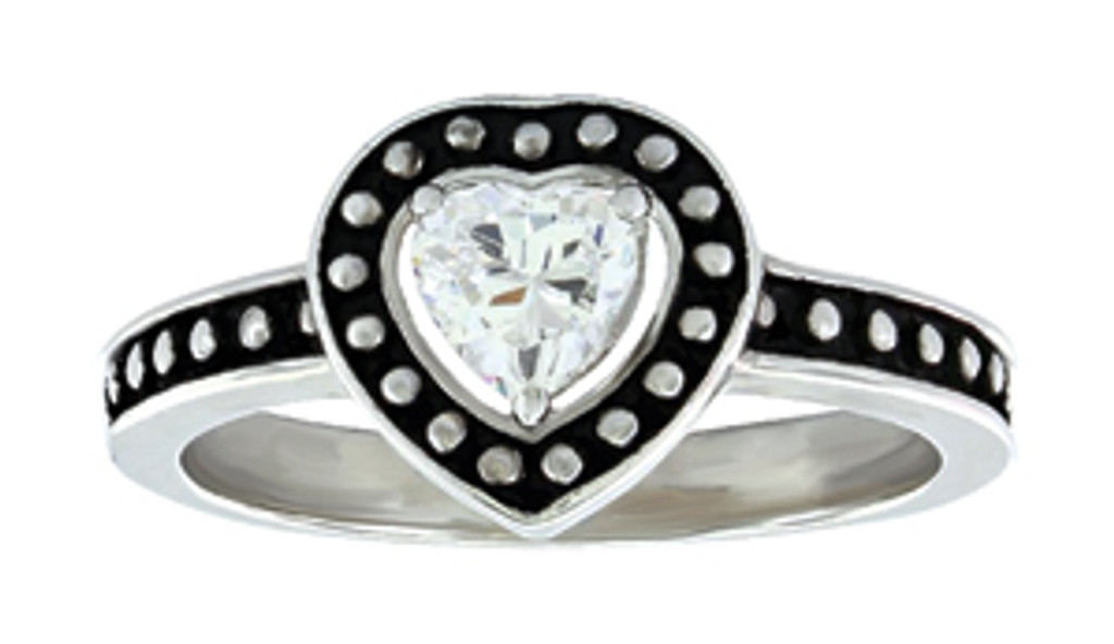 Montana Ring, Beaded Edge w/ Heart CZ
