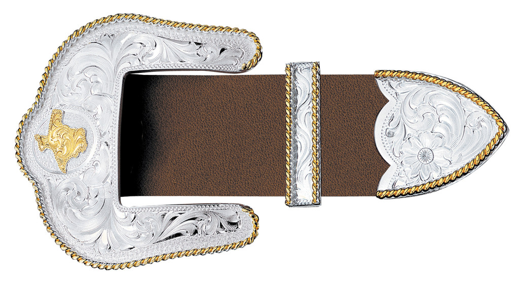 """Montana 3 Piece Buckle Set,  Gold Texas, Silver and Gold Rope Trim, 1.5"""""""