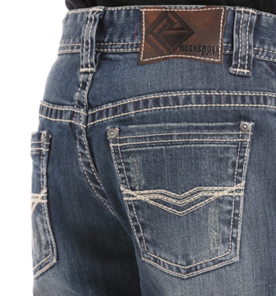 Boys Rock & Roll Jeans, Medium Wash, Revolver Fit, Multiple White V Stiching on Pocket