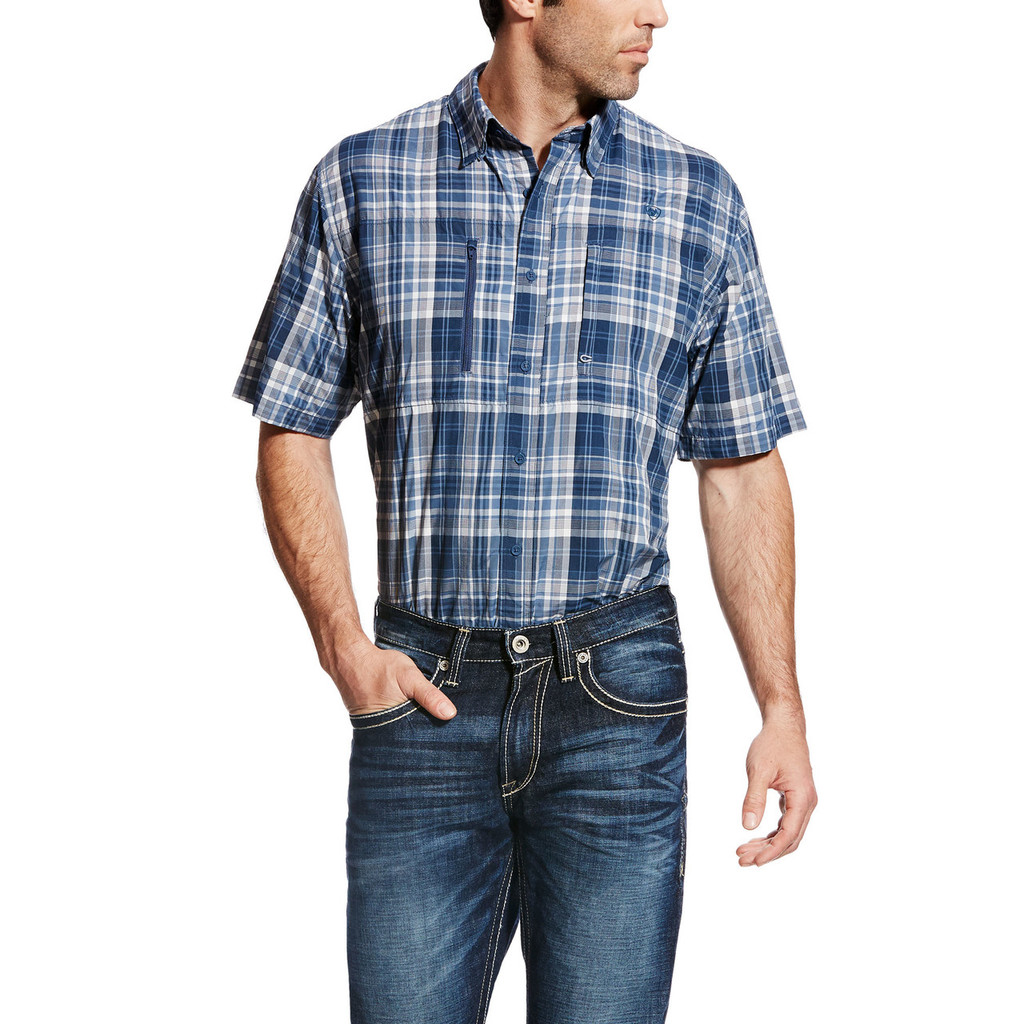Men's Ariat S/S, Blue and White Plaid