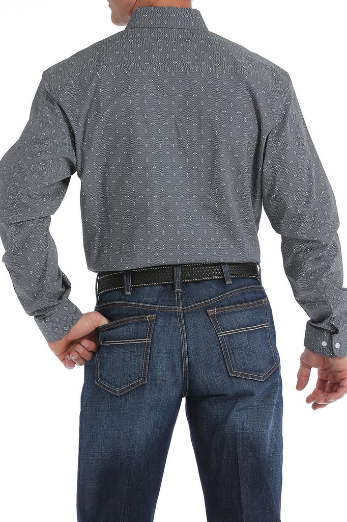 Men's Cinch L/S, Modern Fit, Charcoal with Gray and White Print