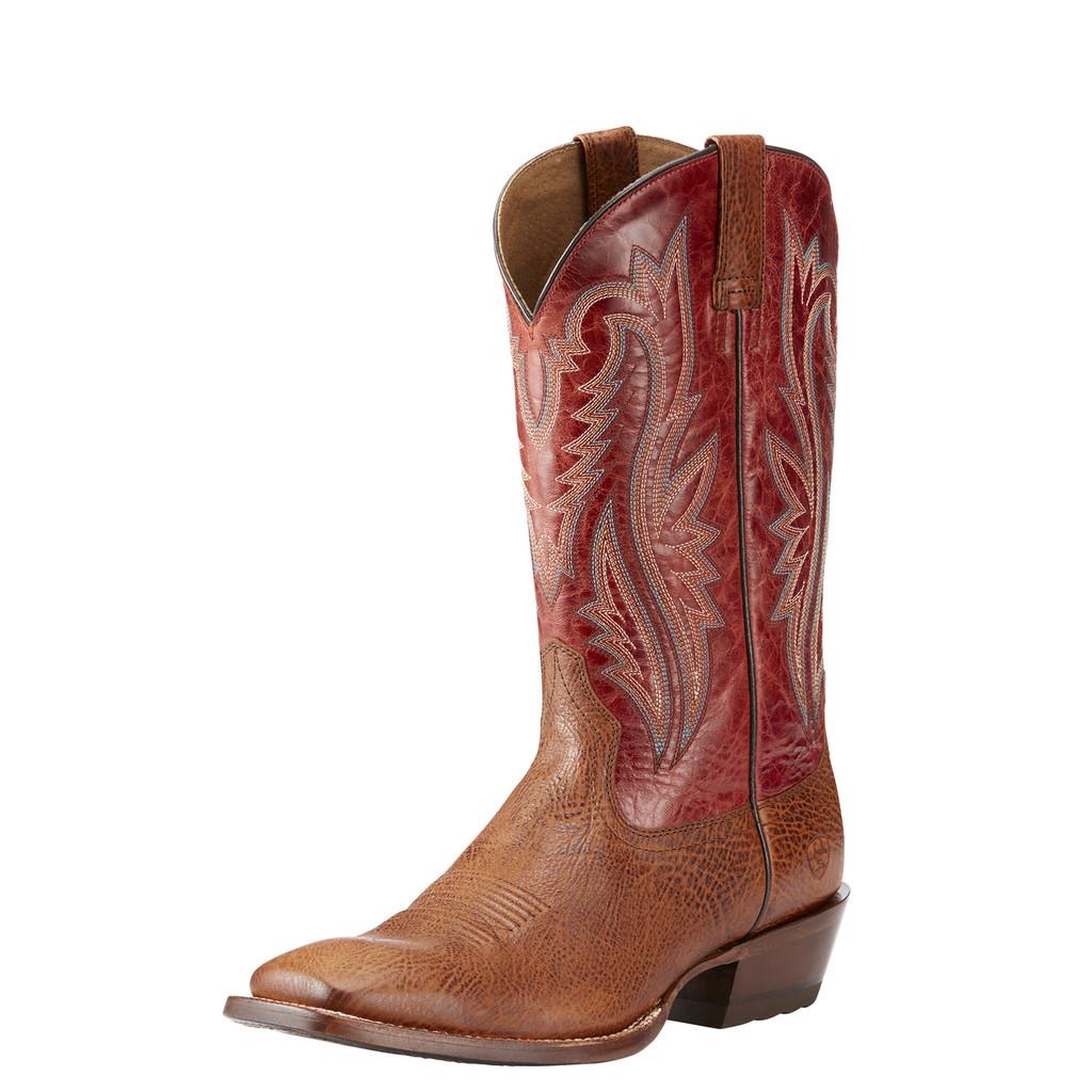 Men's Ariat Boot, Fireside Texaco, Tan Vamp, Reddish Brown Shaft, Square Toe