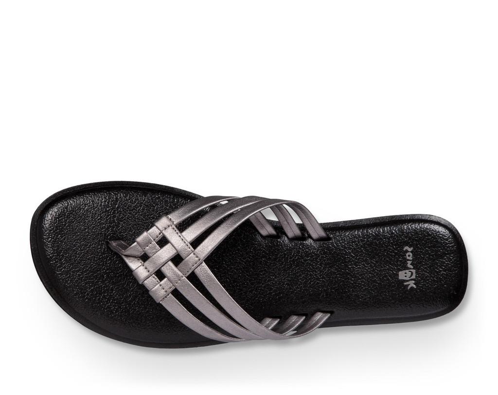 Women's Sanuk Flip Flop,Yoga Salty, Black with Metallic Silver Criss Cross Strap