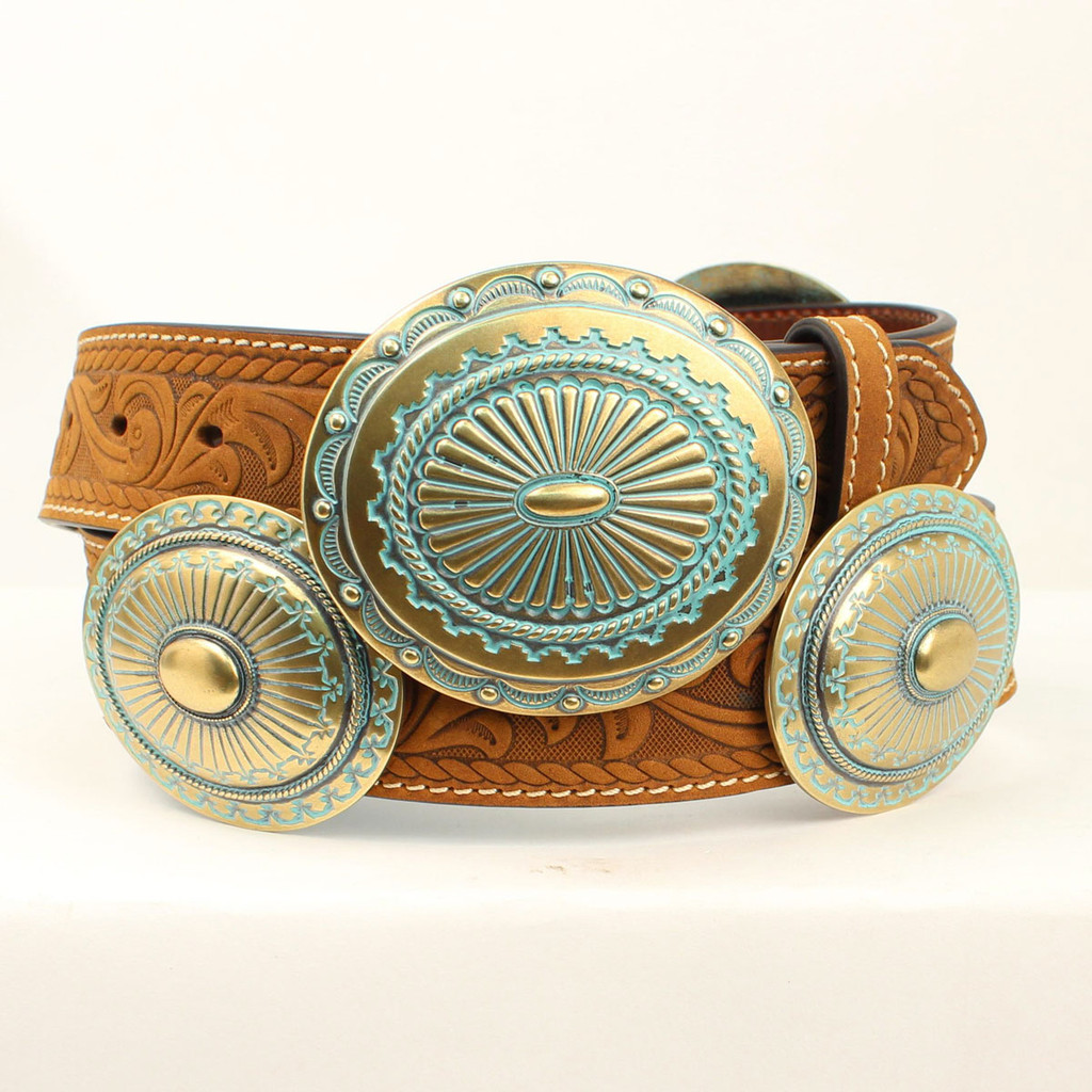 Women's Ariat Belt, Tooled Scrolling, Turquoise and Silver Concho