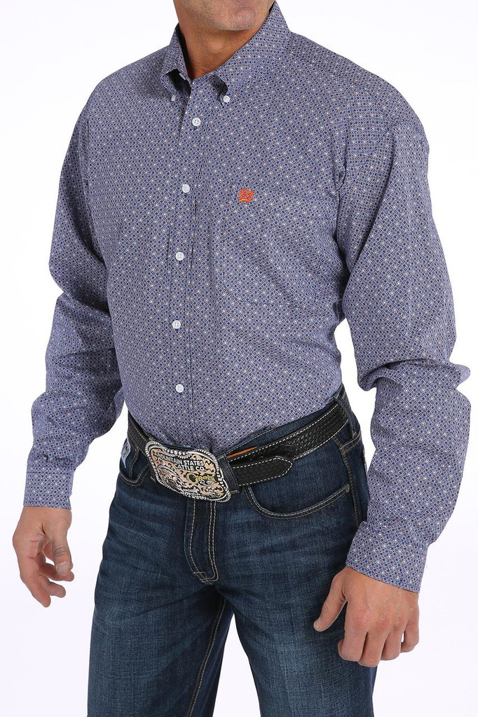 Men's Cinch L/S, Navy Blue with Orange and White Print