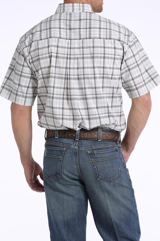 Men's Cinch S/S, Arena Flex, White with Gray Plaid