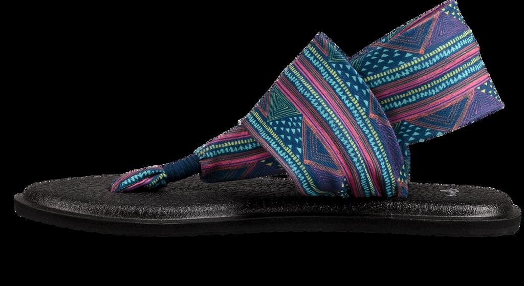 Women's Sanuk Flip Flop, Yoga Sling, Navy Geometric Print