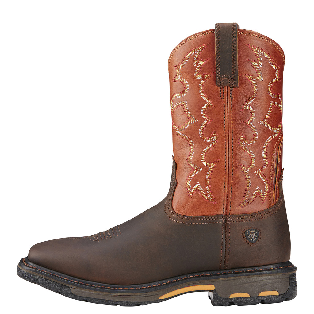 Men's Ariat Work Boot, Orange/Brown Workhog, Wide Square Toe