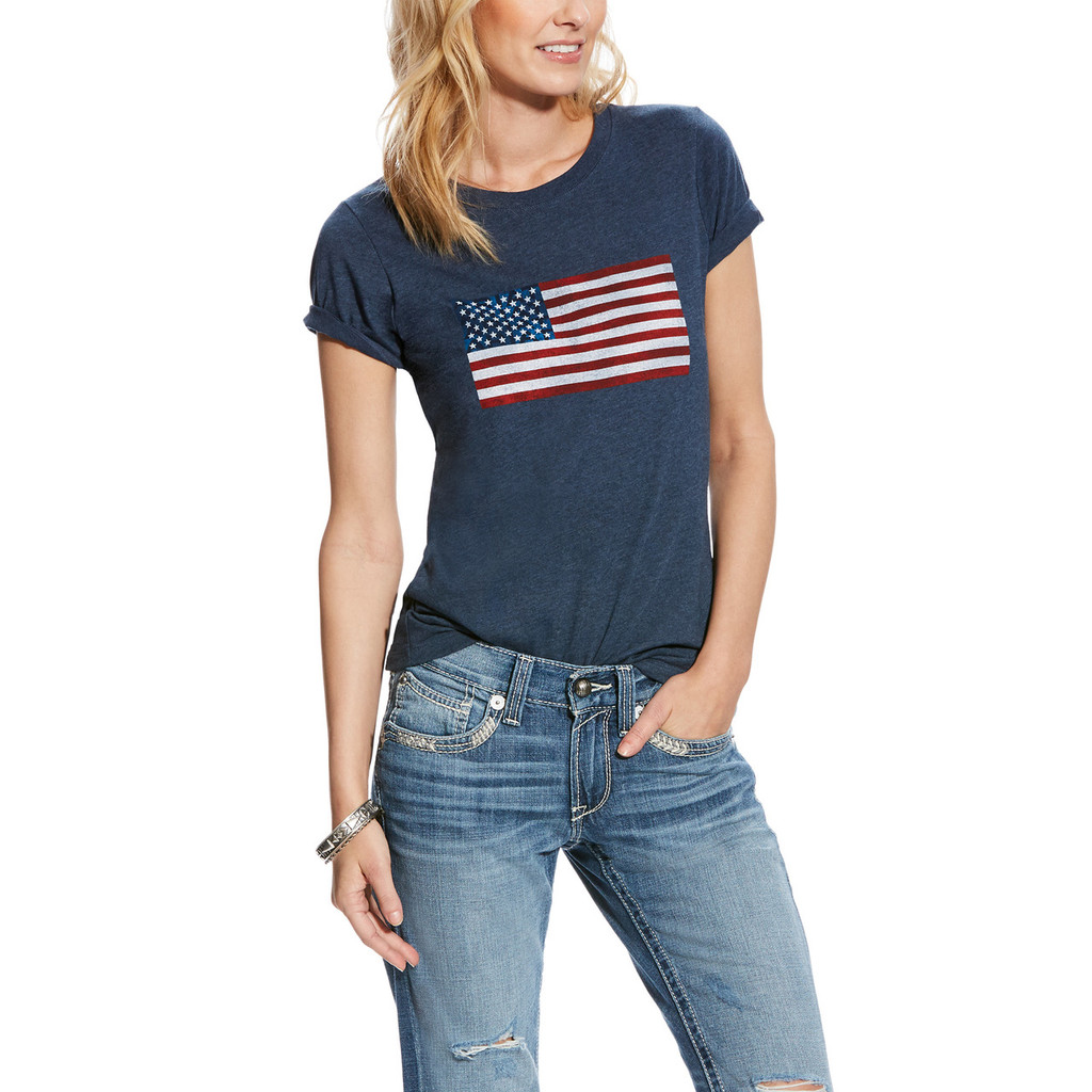 Women's Ariat Tee, Navy Heather Flag Tee