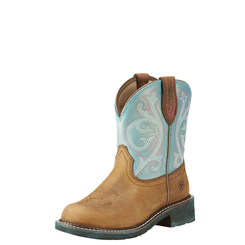 Women's Ariat Boot, Fatbaby Heritage, Tan with Blue Shaft