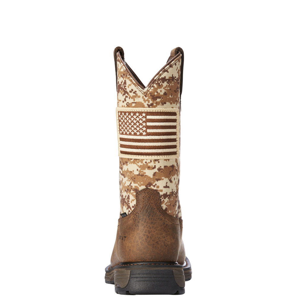 Men's Ariat Work Boot, Patriot, Sand Camo with American Flag, Steel Toe