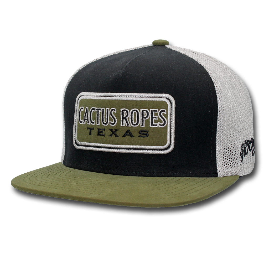 9fa16aef03e2d6 Men's Hooey Cap, Black with White Mesh, Olive Bill and Logo - Chick ...