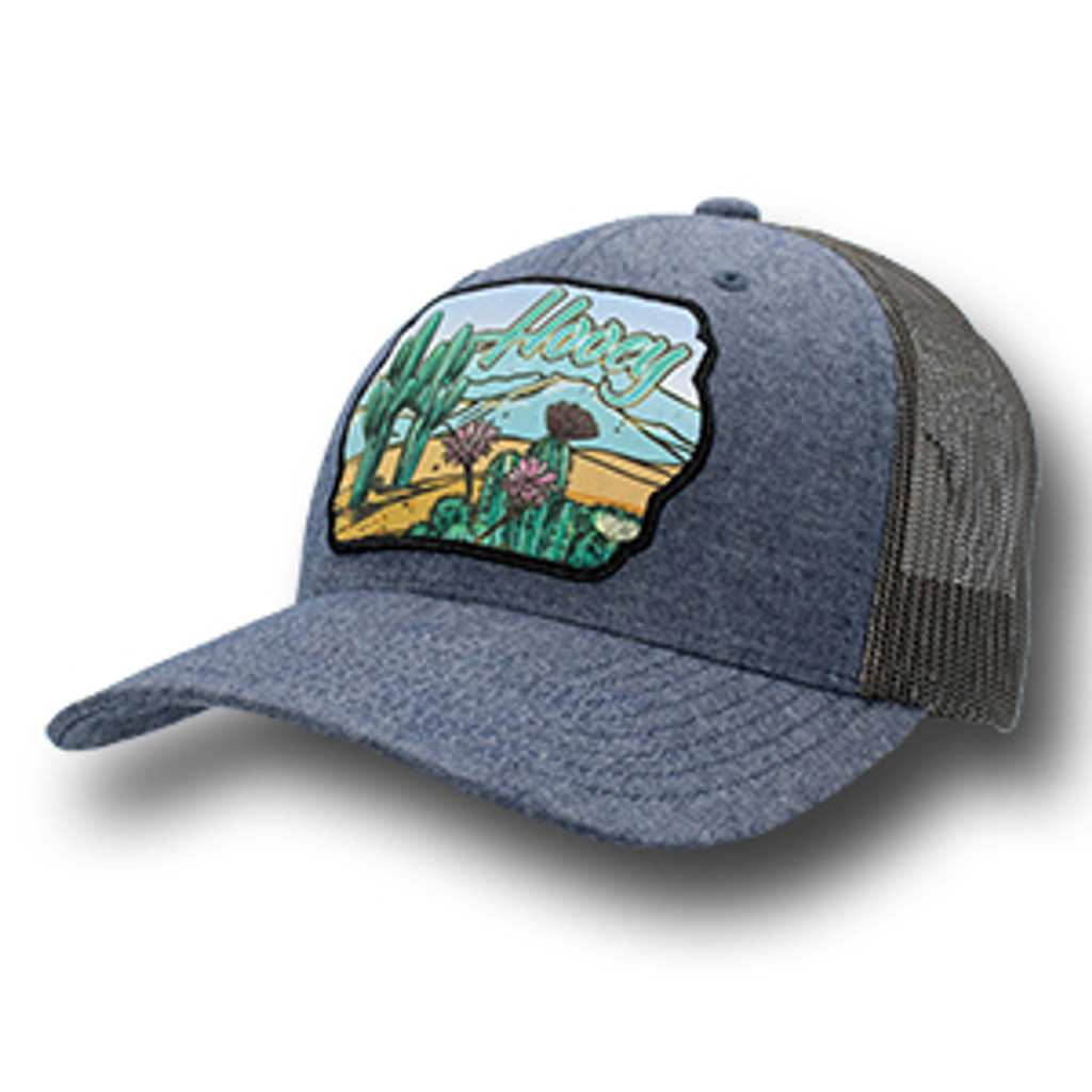 Women's Hooey Cap, Sonora, Denim and Light Brown, Cactus Patch