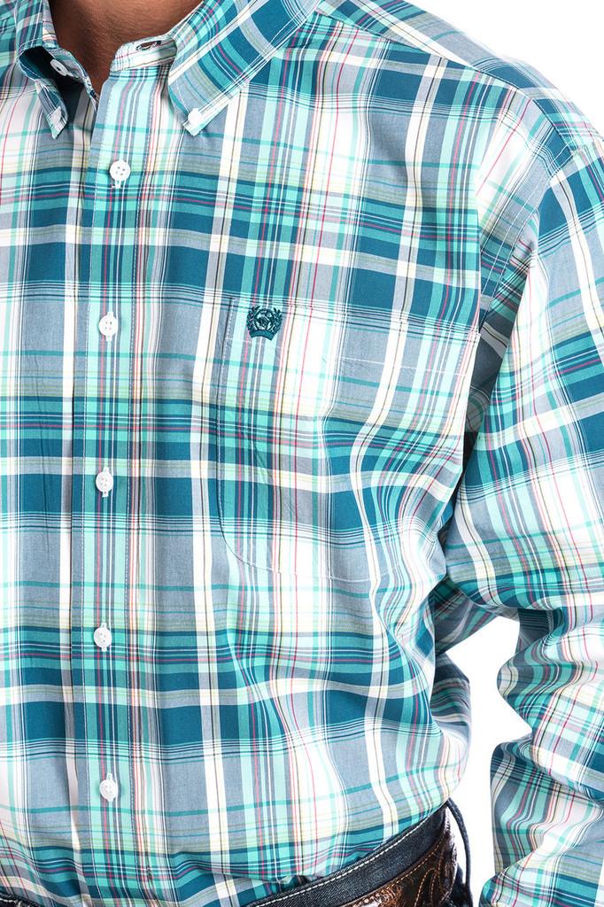 Men's Cinch L/S, Light Blue and White Plaid
