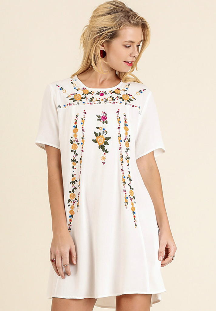 Women's Umgee Dress, Floral Embroidered, A Line