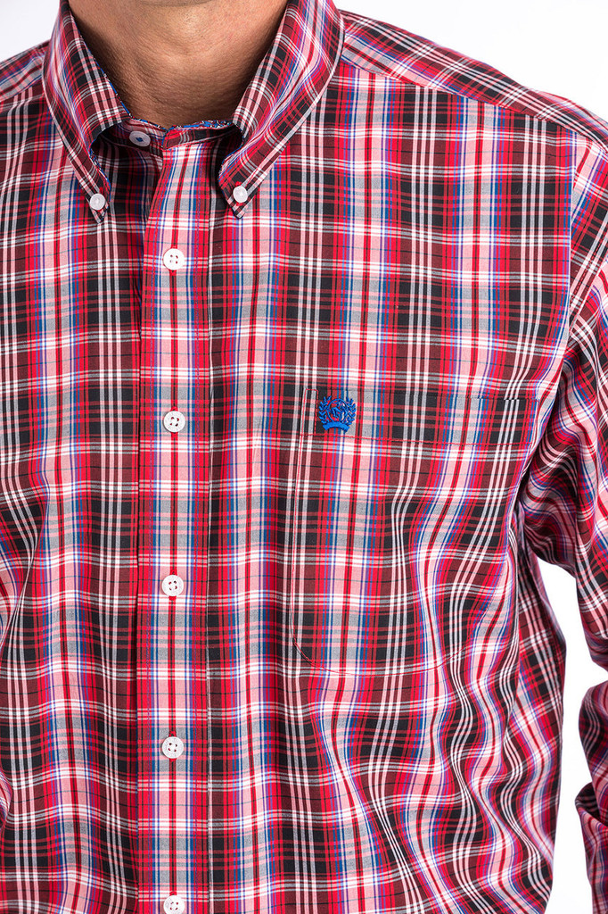 Men's Cinch L/S, Red, White and Black Plaid