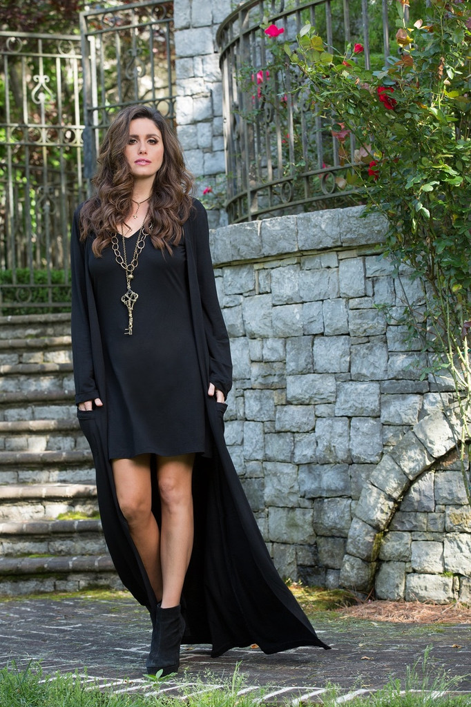 Women's Brontë Dress, Keta, Black with Cardigan