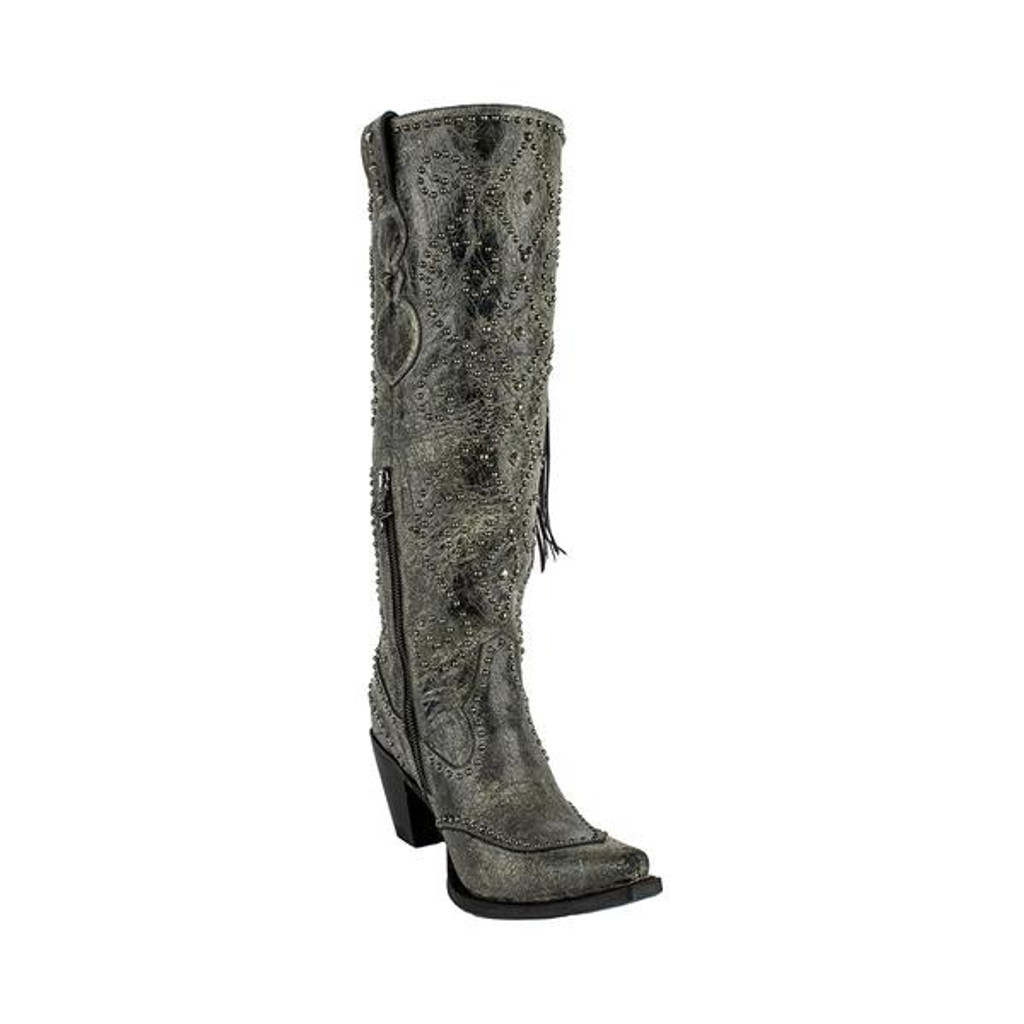 Women's Lane Boots, Conchita, Black with Studs and Conchos